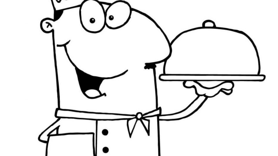 chef-serving-dinner-coloring-page